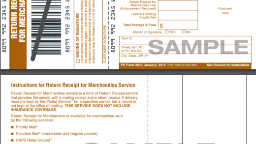Return Receipt for Merchandise or PS Form 3804
