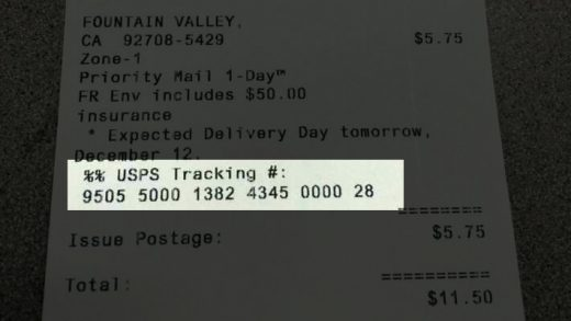 Tracking Number on USPS Receipt
